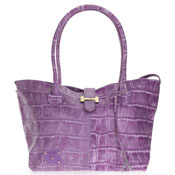 Popcorn Milano Italian Made Designer Lilac Croc Embossed Leather Handbag