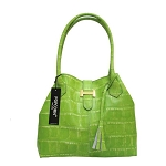 Popcorn Milano Italian Made Designer Green Croc Leather Handbag