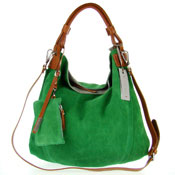 Nicoli Italian Made Green Suede Large Hobo Bag With Wallet
