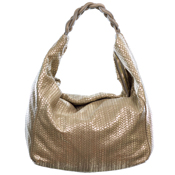 Laura di Maggio Italian Made Gold Beige Leather Large Hobo Bag