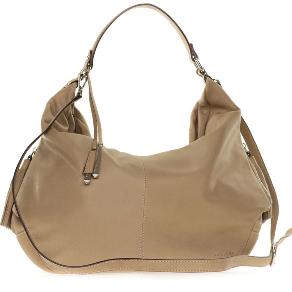 Cromia Italian Made Beige Leather Large Slouchy Hobo Bag with Side ...