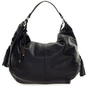 Cromia Italian Made Black Leather Large Slouchy Hobo Bag with Side Zippers