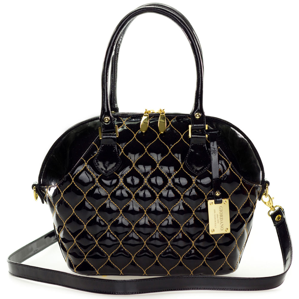 Giordano Italian Made Tote Handbag In Black Patent Quilted