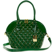 Giordano Italian Made Tote Handbag in Green Patent Quilted Leather with Gold Stitching