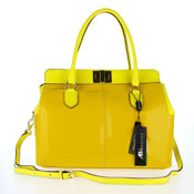 Asia Bellucci Italian Made Yellow Patent Leather Large Structured Carryall Designer Satchel