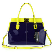 Asia Bellucci Italian Made Purple & Yellow Patent Leather Large Structured Carryall Designer Satchel
