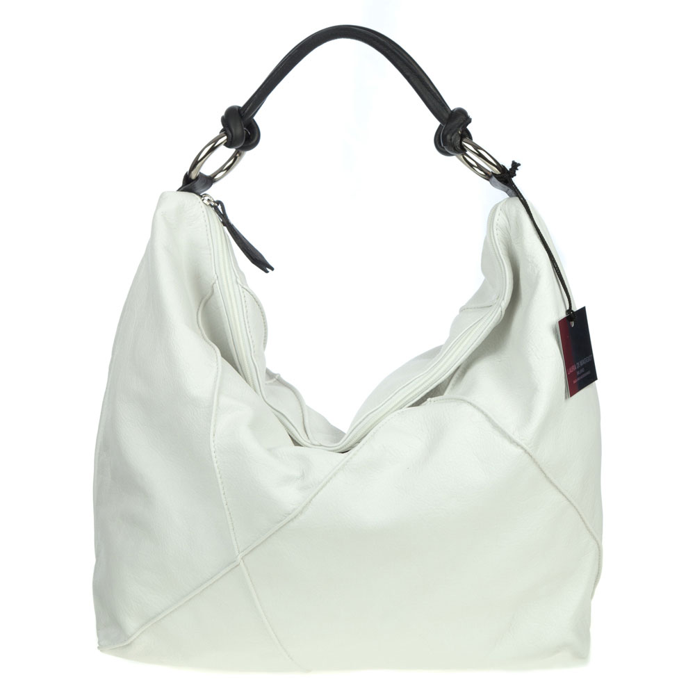 Maggio Italy  City pictures : Laura Di Maggio Italian Made White Leather Large Shoulder Hobo Bag