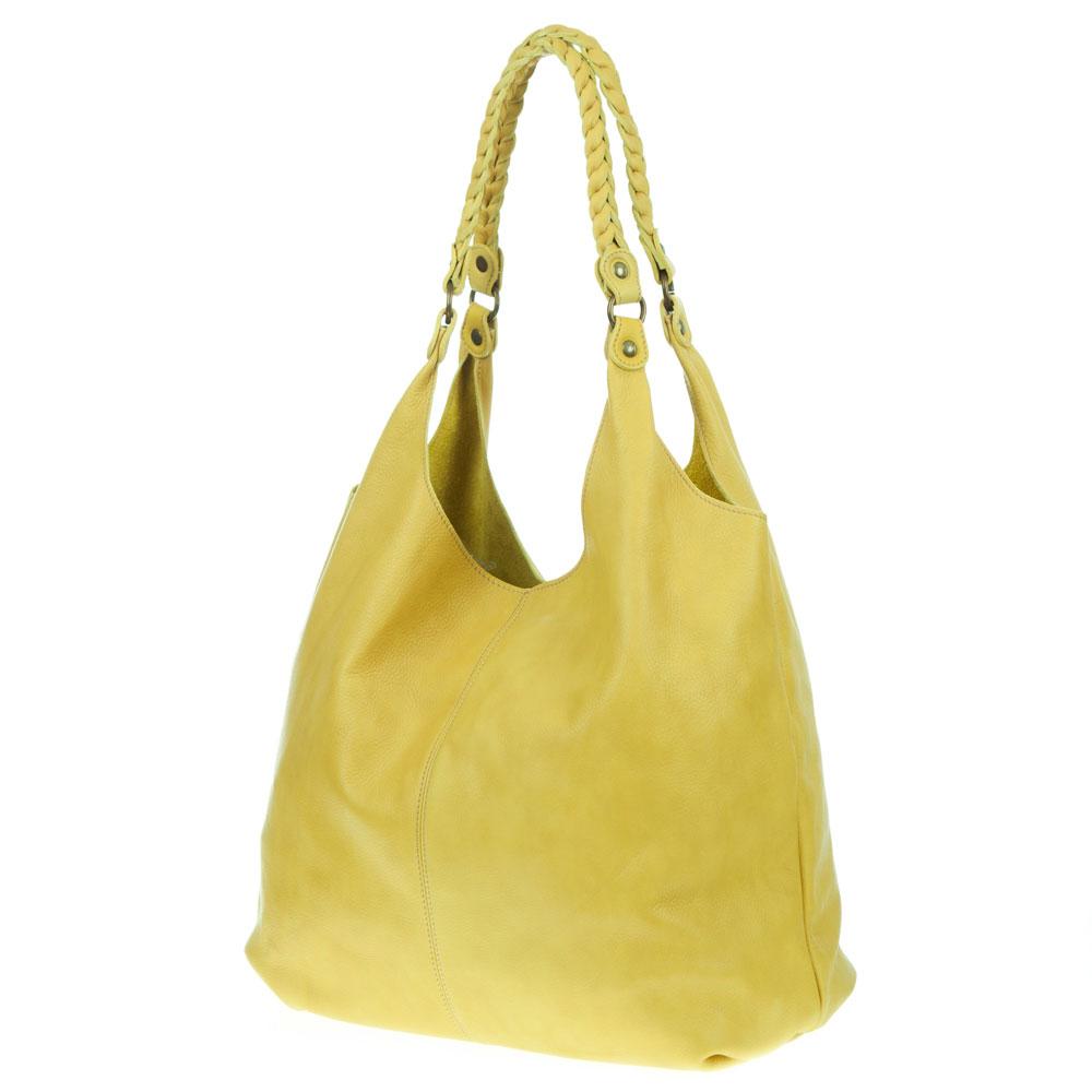 Marco Masi Italian Made Yellow Leather Oversized Designer Hobo Bag