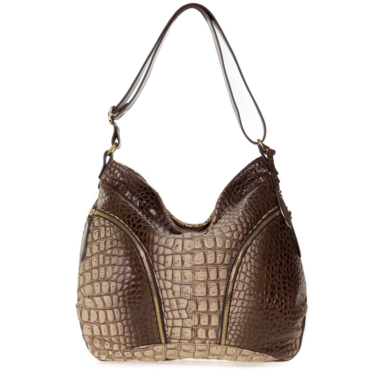 Giordano Italian Made Brown Croc Embossed Leather Large Hobo Bag With Pockets