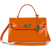Giordano Italian Made Orange Patent Leather Small Structured Handbag