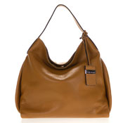 Gianni Chiarini Italian Made Cognac Brown Pebbled Leather Slouchy Handbag