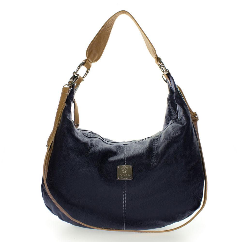 Medichi Italian Made Navy Blue Pebbled Leather Large Shoulder Hobo Bag