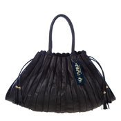 Stephen Italian Made Black Pleated Leather Designer Tote Handbag