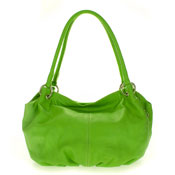 Cosette Italian Made Apple Green Soft Leather Slouchy Hobo Shoulder Bag