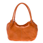 Cosette Italian Made Orange Soft Leather Slouchy Hobo Shoulder Bag