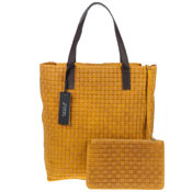 Carol J. Italian Made Mustard Yellow Woven Embossed Leather Tote With Pouch