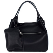 Gianni Chiarini Italian Made Black Leather Large Zip Pocket Carryall Tote Handbag with Pouch