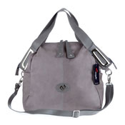 Megghi Italian Designer Gray Leather Large Tote Handbag