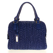 Paolo Masi Italian Made Navy Blue Quilted Lamb Leather Designer Tote Handbag Purse
