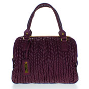 Paolo Masi Italian Made Eggplant/Aubergine Brown Quilted Lamb Leather Designer Tote Handbag Purse