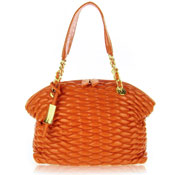 Paolo Masi Italian Made Burnt Orange Quilted Lamb Leather Designer Shoulder Bag
