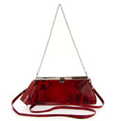 Guidi Italian Made Red Patent Snakeskin Embossed Leather Evening Bag Clutch