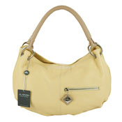 Arcadia Italian Designer Pale Yellow Leather Hobo Bag