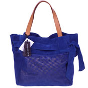 Roberta Gandolfi Italian Made Blue Perforated Suede Tote Bag With Bow