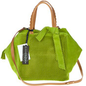 Roberta Gandolfi Italian Made Green Perforated Suede Tote Bag With Bow