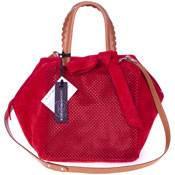 Roberta Gandolfi Italian Made Red Perforated Suede Tote Bag With Bow