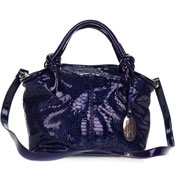 Giordano Italian Made Blue Patent Leather Python Embossed Leather Small Handbag Purse