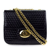 Giordano Italian Made Black Patent Embossed Leather Small Evening Bag with Gold Chain Shoulder Strap