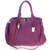 Giordano Italian Made Dusk Violet Flower Embossed Leather Large Tote