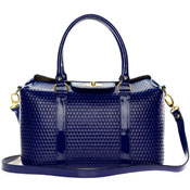 Giordano Italian Made Blue Patent Leather Large Designer Structured Tote Handbag