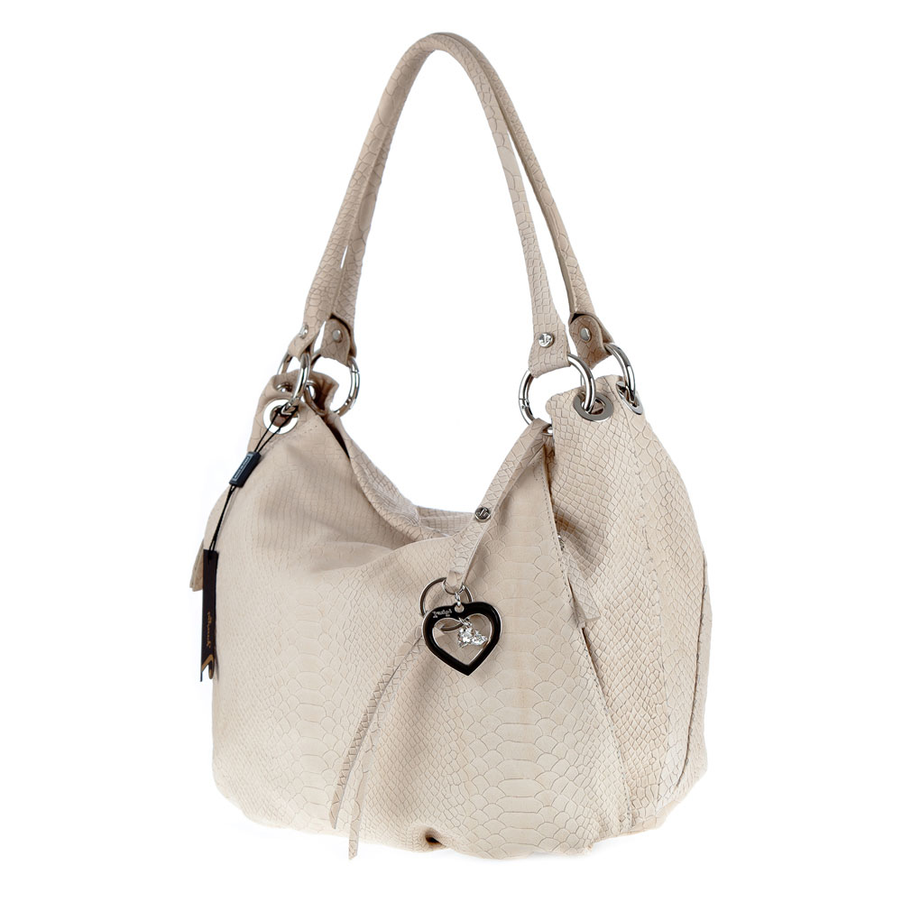 Jenrigo Italian Designer Python Embossed Light Beige Leather Hobo Bag