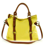 Cerutti Italian Made Yellow & Brown Leather Large Carryall Tote