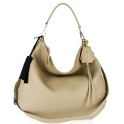 Gianni Chiarini Italian Made Beige Pebbled Leather Large Designer Hobo Bag