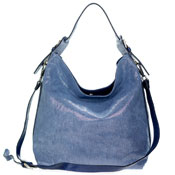 Gianni Chiarini Italian Made Silver Blue Canvas & Leather Hobo Bag
