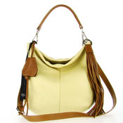 Gianni Chiarini Italian Made Cream Yellow Leather Small Slouchy Designer Hobo Bag