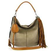 Gianni Chiarini Italian Made Taupe Leather Small Slouchy Designer Hobo Bag