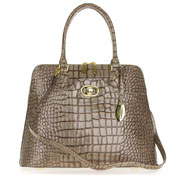Giordano Italian Made Crocodile Embossed Taupe Patent Leather Large Tote Handbag