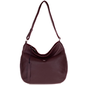 Bruno Rossi Italian Made Bordeaux Red Leather Large Hobo Bag with Side Pocket