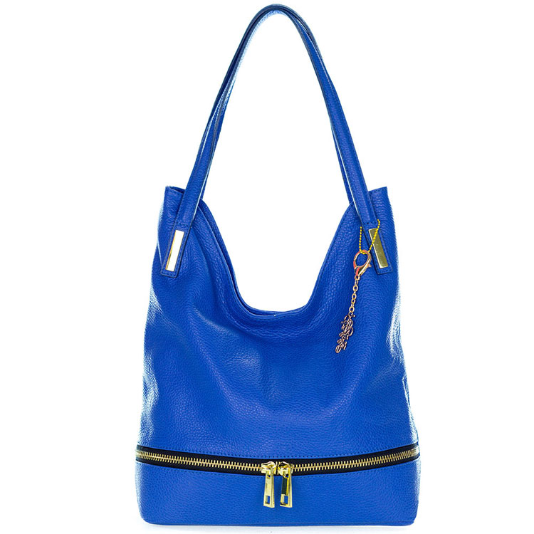 Classe Regina Italian Made Bright Blue Leather Hobo Bag with Pocket