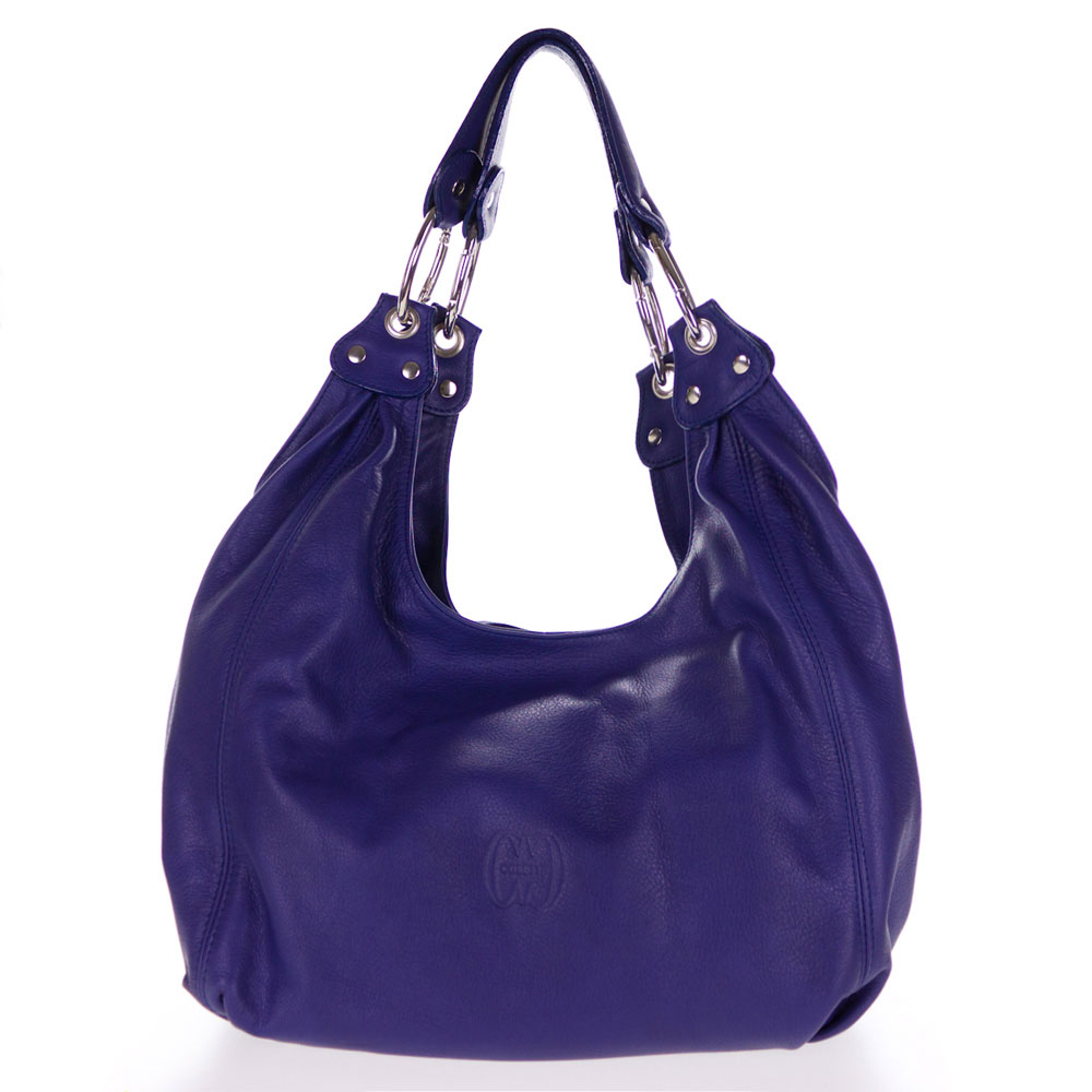 Cosette Italian Made Navy Blue Soft Leather Slouchy Hobo Shoulder Bag