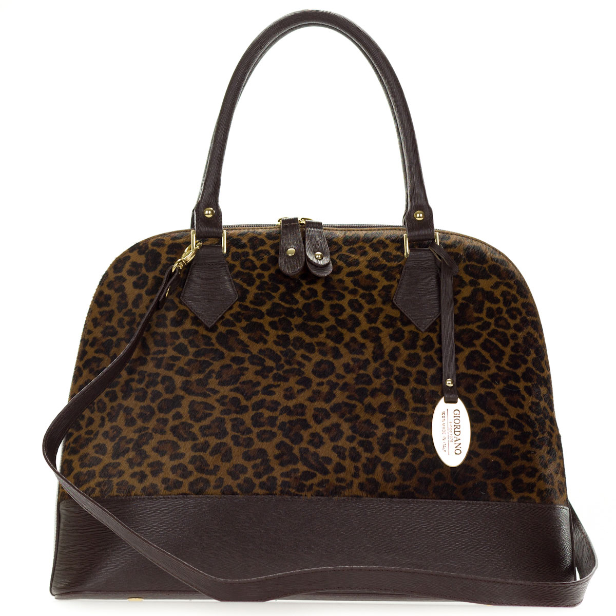 Giordano Italian Made Brown Leather & Leopard Print Cowhide Large Structured Tote Handbag
