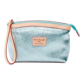 Cavalcanti Italian Made Small Makeup Bag in Silver Aqua