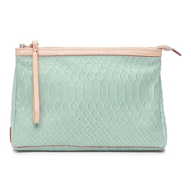 Cavalcanti Italian Made Large Makeup Bag in Snakeskin Print Aqua