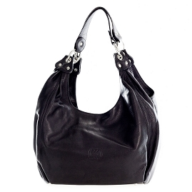 Cosette Italian Made Black Leather Designer Hobo Bag