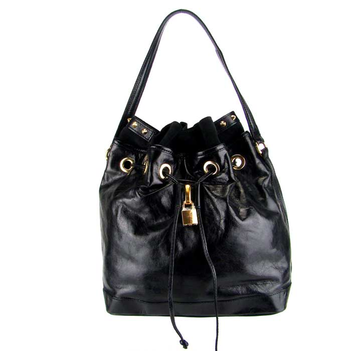 Popcorn Milano Italian Black Leather Drawstring Shoulder Bag - / Clearance /