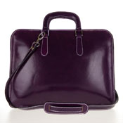 Medichi Italian Made Vegetable Tanned Calfskin Leather Women's Briefcase in Purple - /CLEARANCE/